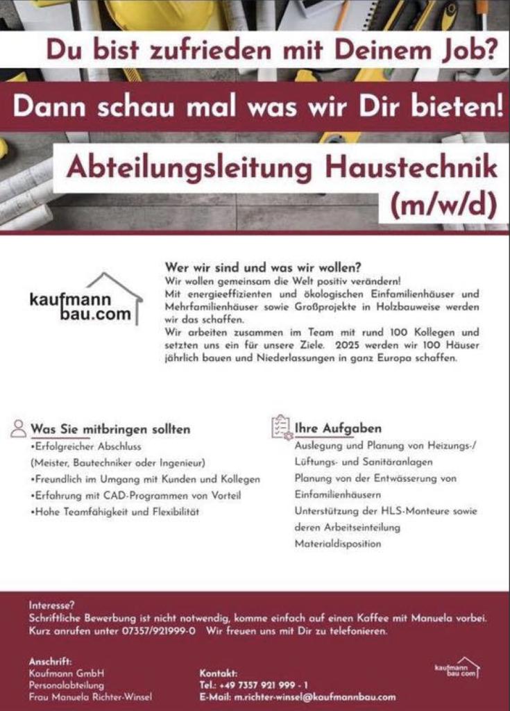Abteilungsleiter KMH (w/m)