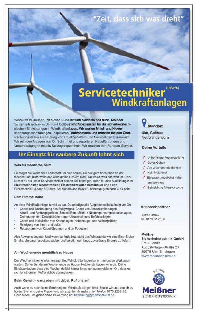 Servicetechniker (m/w/x) Windkraftanlagen