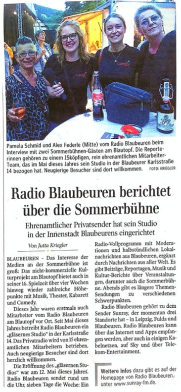 Radio Blaubeuren berichtet über Sommerbühne